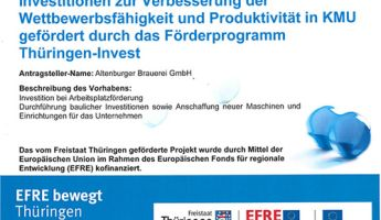 Altenburger Brauerei erhält Unterstützung aus dem EUROPÄISCHEN FONDS FÜR REGIONALE ENTWICKLUNG